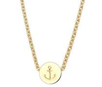 Schmuck Halskette Kette mit Anhänger Anker Maritim Hanseatisch Silber 925 Vergoldet Länge 45 cm