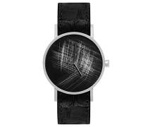 Datum klassisch Quarz Uhr mit Leder Armband SS18-silver-93