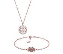 Schmuckset Halskette plus Armband Lebensblume 925 Sterling Silber