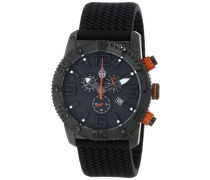 Armbanduhr XL Black Chrono Analog Quarz Silikon BM521-622B