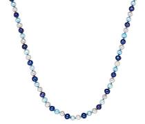 Classic Collection Kette Hochwertige Süßwasser-Zuchtperlen in ca. 7 mm Oval nebelblau / aqua / blauviolett 925 Sterling Silber 42 cm + 5 cm Verlängerung 60020084