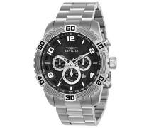 24602 Pro Diver Uhr Edelstahl Quarz schwarzen Zifferblat