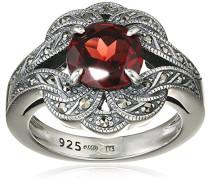 Ring 925 Silber vintage-oxidized Granat rot Markasit 50 (15.9) - L0041R/90/M2/50