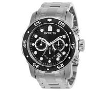 0069 Pro Diver - Scuba Uhr Edelstahl Quarz schwarzen Zifferblat