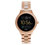 Smartwatch Q Venture 3. Generation - Edelstahl - Roségold – Stylische Uhr mit Smartfunktionen & verziert mit Glitzersteinen – Für Android & iOS