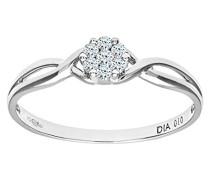 Ring 375 Weißgold 9 K Diamant 0