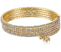 Gold Ton Multi Zeile Kristalle Flex Armband von 12 cm