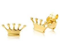 Ohrringe Kinder Mädchen Gelbgold 18 Karat/750 Gold Ohrstecker mit Krone