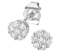 Ohrstecker 9 Karat 375 Weißgold rhodiniert Diamant (0
