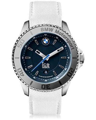 BMW Motorsport (steel) White - Weiße Herrenuhr mit Lederarmband - 001112 (Medium)