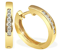 Creolen Gelb Gold 585 12 Diamanten Lupenrein 0