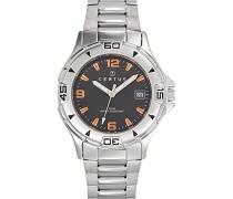 – 616794 – Armbanduhr – Quarz Analog – Zifferblatt schwarz Armband Stahl Silber
