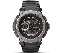 Armbanduhr Digitaluhr mit schwarzem Zifferblatt Digital Display und schwarz Kunststoff Gurt 1160.05