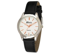 Armbanduhr Ladies Deluxe Classic Watch on a Genuine Leather Strap. Analog Leder Schwarz RD004.2GL