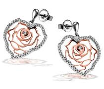 Ohrstecker Herz 925 Sterlingsilber teilweise rosévergoldet 104 weiße Zirkonia Herz-Ohrringe