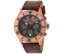 Armbanduhr für mit Analog Anzeige, Chronograph und Lederarmband - Wasserdichte Damenuhr mit zeitlosem, schickem Design - klassische