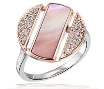 Damenring lovely rosé 925 Sterlingsilber Ring rosévergoldet 1 Perlmutt rosa 42 Zirkonia