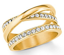 Ring Edelstahl IP Gold veredelt mit Swarovski Kristallen