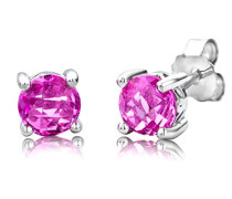 Ohrstecker 925 Sterling- Silber Rundschliff Pink/Rosa