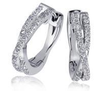 Creolen Ohrringe Linien 585 Weißgold 60 Diamanten 0
