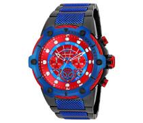 25782 Marvel - Spiderman Uhr Edelstahl Quarz roten Zifferblat