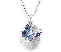 Medaillon MyName zum aufklappen Silber eismatt mit lackiertem Schmetterlingeinhänger ohne Gravur LD MY 353 17