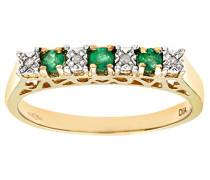 Ring 375 Gelbgold 11 Saphir Diamant 9 Karat