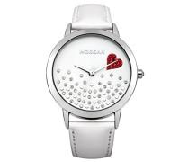 – m1223 W-a Armbanduhr – Quarz Analog – Weißes Ziffernblatt – Armband Leder Weiß