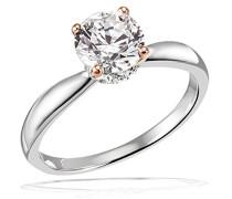 Damenring Verlobung 925 Sterlingsilber Stotzen rosevergoldet 1 Großer Zirkonia 16 Zirkonia