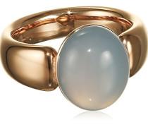 Damen-Ring Edelstahl Chalcedon blau