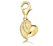 Herzflügel Charm vergoldetes 925er-Sterlingsilber Größe 12 mm