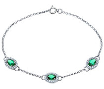 Armband 925 Sterlingsilber 3 Smaragd Oval Zirkonia 19.5 cm