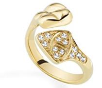 Ring Skin Edelstahl teilvergoldet Kristall Weiß SCAGD09014