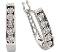 Creolen 925 Sterling Silber rhodiniert Diamant 0.045 ct weiß Brillantschliff 317210001