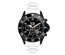 ICE Chrono Black White - Weiße Herrenuhr mit Silikonarmband - 013707 (Large)