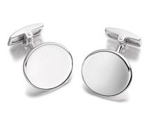 Sterling Silber Einfache Konkave Ovale Manschettenknöpfe