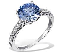 Ring Arctic Blue 925 Sterlingsilber gesetzt mit 16 weißen und einem blauen Swarovski Zirconia