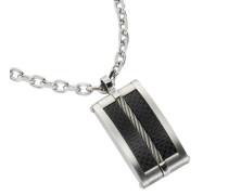 Halskette mit Anhänger 50cm Motiv Rechteck schwarz 500043752-50