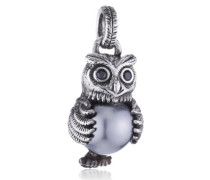 Anhänger 925 Silber Perle Brillantschliff Zirkonia grau LD OW 32- B