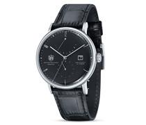 Analog Quarz Uhr mit Leder Armband Albers DF-9010-01 Automatik