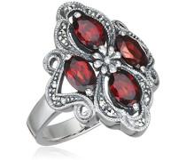 Ring 925 Silber vintage-oxidized Granat rot Markasit 52 (16.6) - L0007R/90/M2/52