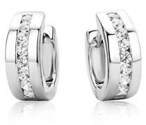 Ohrringe Creolen Silberfarbig 925 Sterling Silber Weiße Zirkonia Steinchen