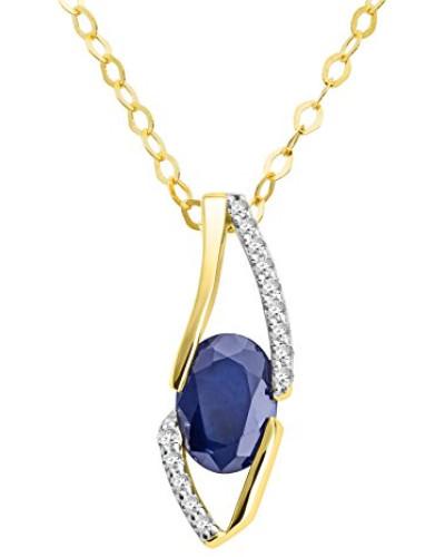 Anhänger Halskette 18 Karat (750) Gelbgold Saphir mit Brillanten 45cm blau Ovalschliff Diamant - MH8019N