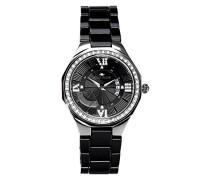 Armbanduhr Schwarz Analog Quarz Premium Keramik Diamanten - STM15Y4