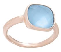 Ring Bronze Metalllegierung teilvergoldet Glas blau
