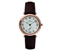 3276.1562 Quarz Schweizer Uhr mit Silber Zifferblatt Analog-Anzeige und braunem Lederband