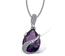 Halskette 925 Sterlingsilber Lila Tropfen 1 violetter und 24 weiße Zirkonia Kristalle Kettenanhänger Schmuck