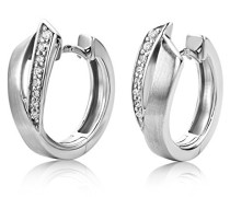 Ohrringe Creolen Silberfarbig 925 Sterling Silber mit Rundschliff Zirkonia Steinchen
