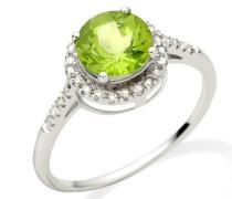 Damen-Ring 375 Weißgold runde Peridot Brillanten
