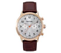 Chronograph Quarz Uhr mit Leder Armband P10015